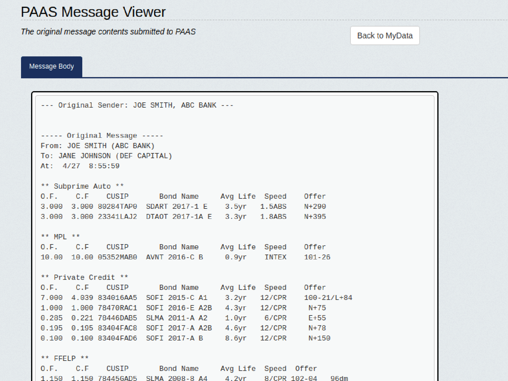PAAS Message Viewer
