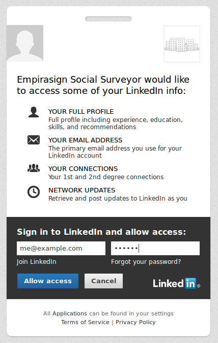Screenshot of authentication page on LinkedIn website