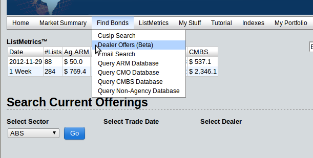 dealer offer search page location on nav bar