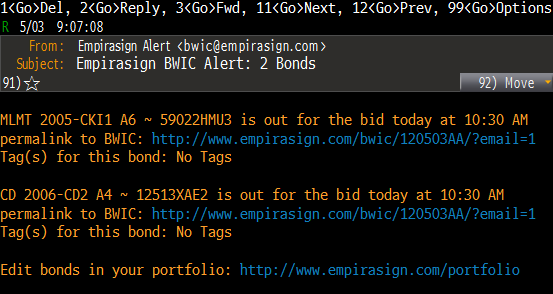 sample BWIC Alert email message delivered to Bloomberg terminal